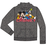 Youth Disney Friends Mickey, Goofy, Pluto, DonaldZip Up Hoodie, Charcoal Gray