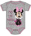 Infant Onesie My First Minnie, Pink Gray