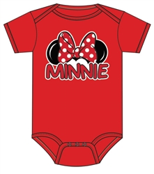 Infant Onesie Minnie Family, Red