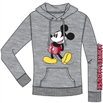Junior Zip Up Hoodie Hey There Mickey, Gray