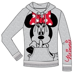 Adult Junior Silent Minnie Pullover Hoodie, Gray