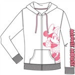 Junior Zip Up Hoodie Hey There Minnie, Pink White