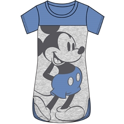 Junior Scoop Neck Tunic Standing Mickey, Blue Gray
