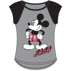 Junior Cap Sleeve 2020 Mickey Life Fashion Top, Gray Black