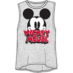 Junior Fashion Tank Top Big Eyes Mickey Mouse, Gray
