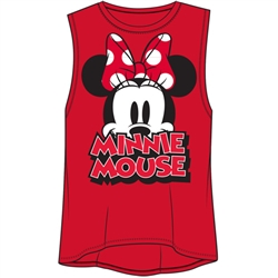Junior Fashion Tank Top Big Eyes Minnie Mouse, Red