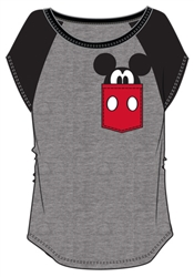 Junior Fashion Contrast Shoulder Top Mickey Pocket, Gray with Black