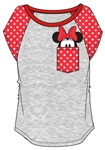 Junior Fashion Contrast Shoulder Top Minnie Pocket, Gray with Red