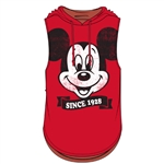 Junior Fashion Hooded Tank Top Big Face Mickey Mouse Since 1928, Red