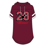 Junior Fashion Hooded Football Tee 28 Minnie, Burgundy White