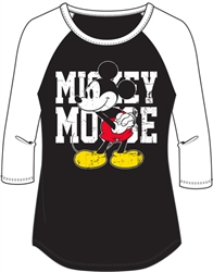 Junior Fashion Top 3/4 Sleeve Mickey Mouse Name SJ, Black White
