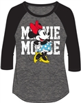 Junior Fashion Top 3/4 Sleeve Minnie Mouse Name SJ Top, Black Gray