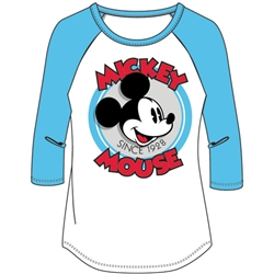 Junior Fashon Top 3/4 Sleeve Retro Mickey Mouse, White Blue