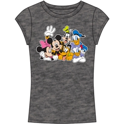 Junior Fashion Top Sensational Six Minnie, Mickey, Goofy, Pluto, Donald Daisy, Dark Gray