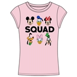 Junior Fashion Top My Squad Mickey, Minnie, Donald Duck, Pluto, Daisy, Goofy, Light Pink