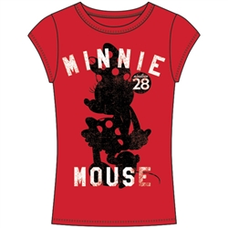 Junior Fashion Top Minnie Mouse Silohouette, Red