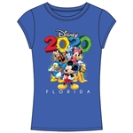 Junior Fashion Top 2020 Fun Friends Mickey Minnie Goofy Donald Pluto, Royal Blue (Florida Namedrop)