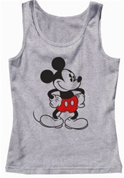 Womens Tank Top Old School Mickey, Grey Heather