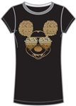 Adult Womens Fashion Tee Mickey Text with Glasses, Black
