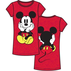 Adult Womens Fashion Top Mickey Front and Back, Cherry Red