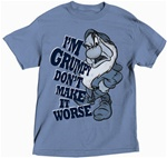 Plus Size Mens T Shirt I'm Grumpy, Denim Blue
