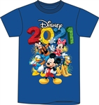 Plus 2021 Fun Friends Mickey Minnie Pluto Donald Goofy Tee, Royal Blue