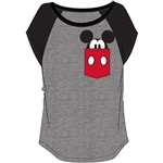 Plus Size FashionContrast Shoulder Top Mickey Pocket, Gray with Black
