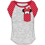 Plus Size Fashion Contrast Shoulder Top Minnie Pocket, Gray with Red