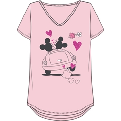 Plus Size Vintage V-Neck Top Love Drive Mickey Minnie, Pink