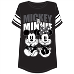 Plus Size Football Tee Mickey and Minnie Sitting, Black