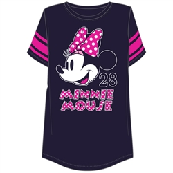 Plus Size Football Tee Minnie Mouse Head, Navy