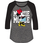 Plus Fashion Top 3/4 Sleeve Minnie Mouse Name SJ Top, Black Gray