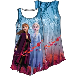 Girls Frozen II Anna Elsa Fall Sublimated Dress, Multi Colored
