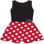 Youth Girls Tank Dress Cosplay Minnie Mouse Polka Dots, Black Red