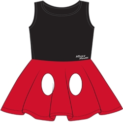 Youth Girls Tank Dress Cosplay Mickey Mouse Pants, Black Red