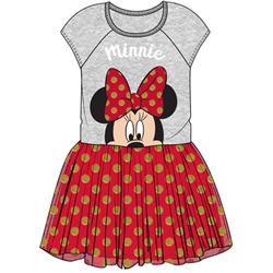 Youth Girls Big Bow Minnie Tutu Dress, Gray Red