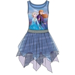 Girls Frozen II Anna Elsa Nature Dress, Blue Purple
