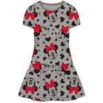 Youth Minnie Mouse All Over Print Dress, Gray