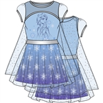 Girls Frozen II Water Nokk Sparkle Cape Dress, Blue Purple