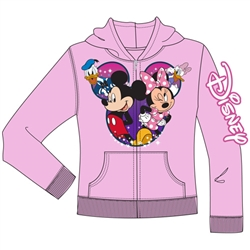 Youth Group Cast Mickey Minnie Donald Daisy Zip Up Hoodie, Light Pink