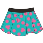 Youth Girls Skort Skirt/Short Girlie Minnie Print, Teal Pink