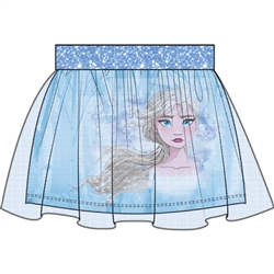 Girls Frozen II Fearless Elsa Glitter Skirt, Light Blue