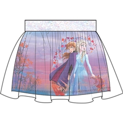 Girls Frozen II Sister Strong Anna Elsa Glitter Skirt, White
