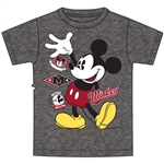 Youth Boys Tee Hi Mickey, Black Heather