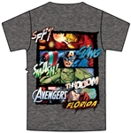 Youth Boys T Shirt Marvel Avengers Iron Man Captain America Hulk Thor, Black Heather Dark Gray (Florida Namedrop)