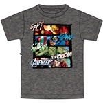 Youth Boys T-Shirt Four Square Marvel Group, Black Heather (Namedrop Required)