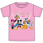 Youth Girls T-Shirt Disney Sparkle Group, Pink (Florida Namedrop
