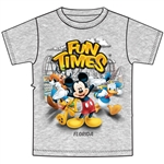 Youth Unisex Tee Shirt Fun Time Mickey Group, Gray (Florida Namedrop)