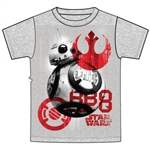 Youth Unisex T Shirt Star Wars BB-8 Symbols Tee, Gray