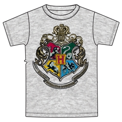 Youth Unisex T Shirt Harry Potter Hogwarts Crest, Gray